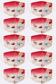 Xmas Santa Sleigh Ride Print Face Cover