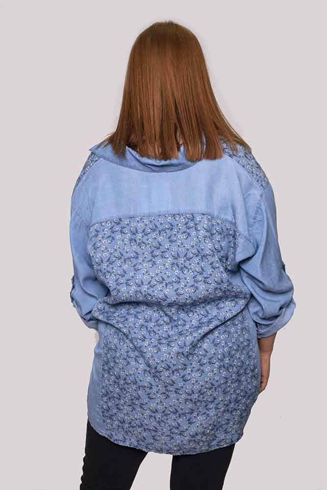 Irene Cotton Floral Denim Top - Love My Fashions - Womens Fashions UK