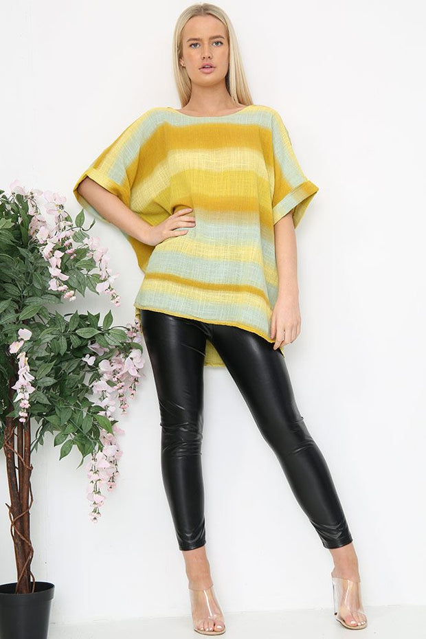 Italian Tonal Striped Boxy Top