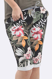 Johana Cotton Tropical Print 3/4 Drawstring Trouser - Love My Fashions - Womens Fashions UK