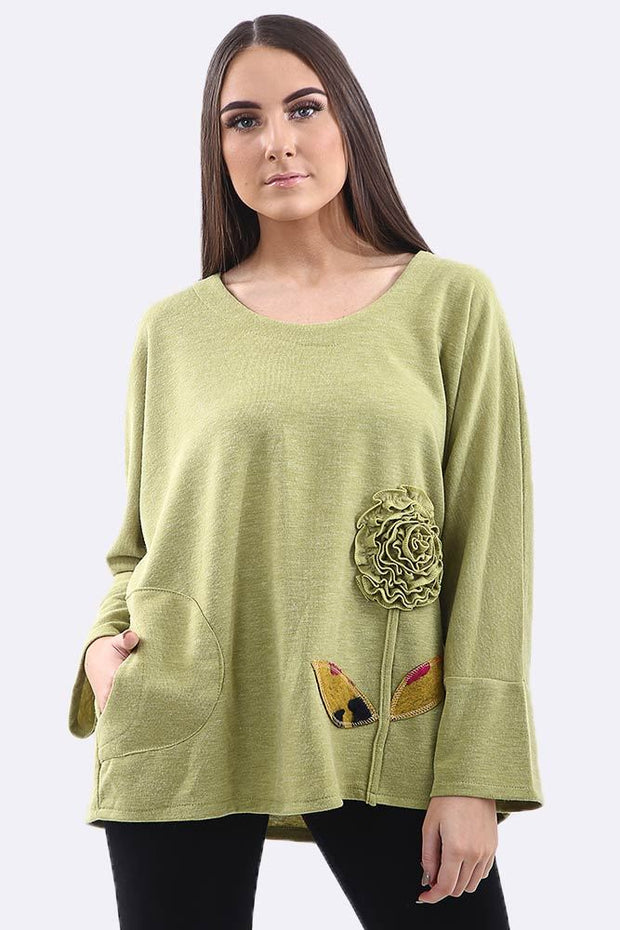 Antonia Plain Fabric Flower Pocket Wool Top