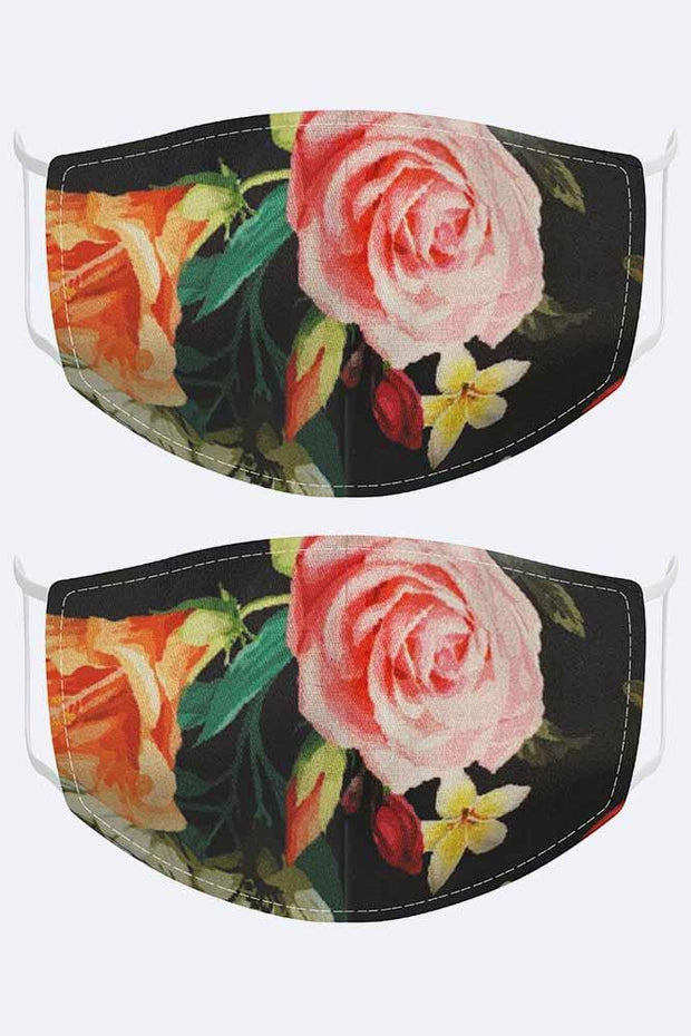 Rose Print Black Face Cover