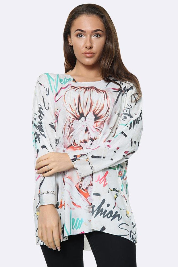 Italian Fashion Girl Print Tunic Top