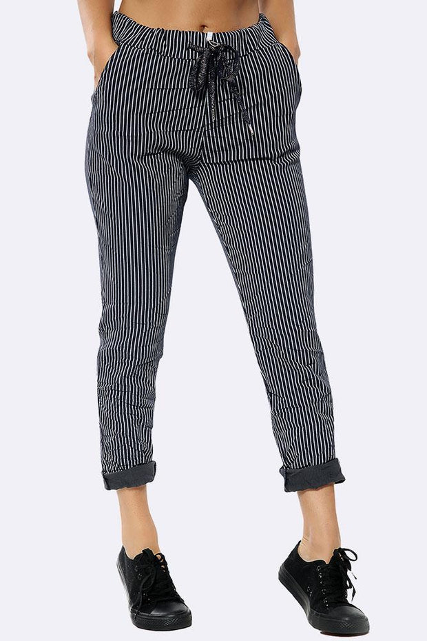 Glitter Drawstring Narrow Stripes Jogger