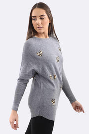 Amina Diamante Leopard Heart Stripes Tunic Jumper