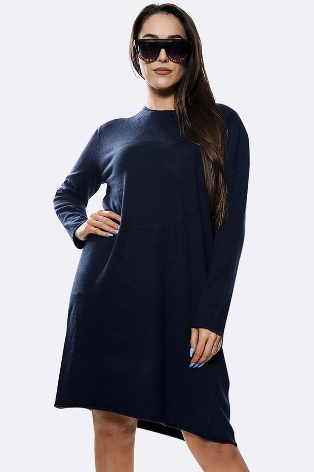 Plain Knitted Soft Long Sleeve Long Jumper