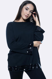 Sequin Sleeve & Hem Plain Tunic Soft Jumper