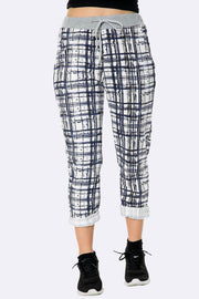 Italian Abstract Brush Strokes Box Pattern Trousers