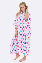Kadie Polka Dot Print Hooded Fleece Poncho Blanket - Love My Fashions - Womens Fashions UK