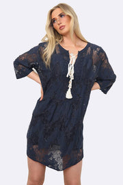 Italian Crochet Detail Notch Neck Lace Tunic  Top