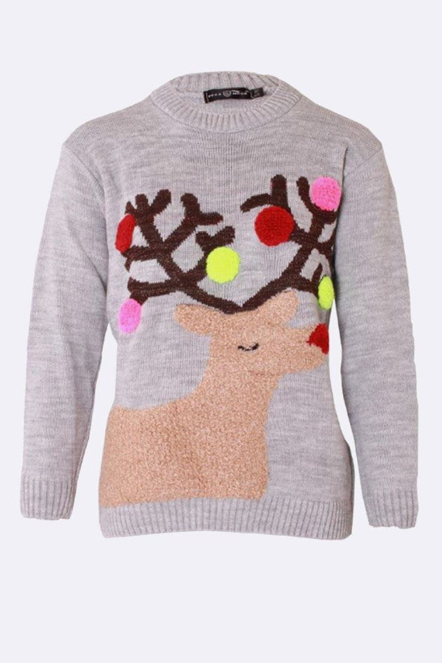 Karen Reindeer Pompom Knitted Christmas Jumper - Love My Fashions - Womens Fashions UK