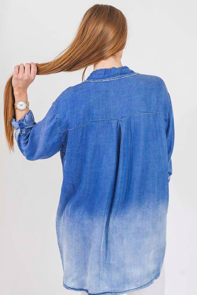 Neive Denim Dip Hem Ombre Shirt - Love My Fashions - Womens Fashions UK