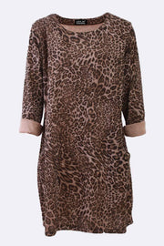 Rubie Leopard Print Midi Swing Dress