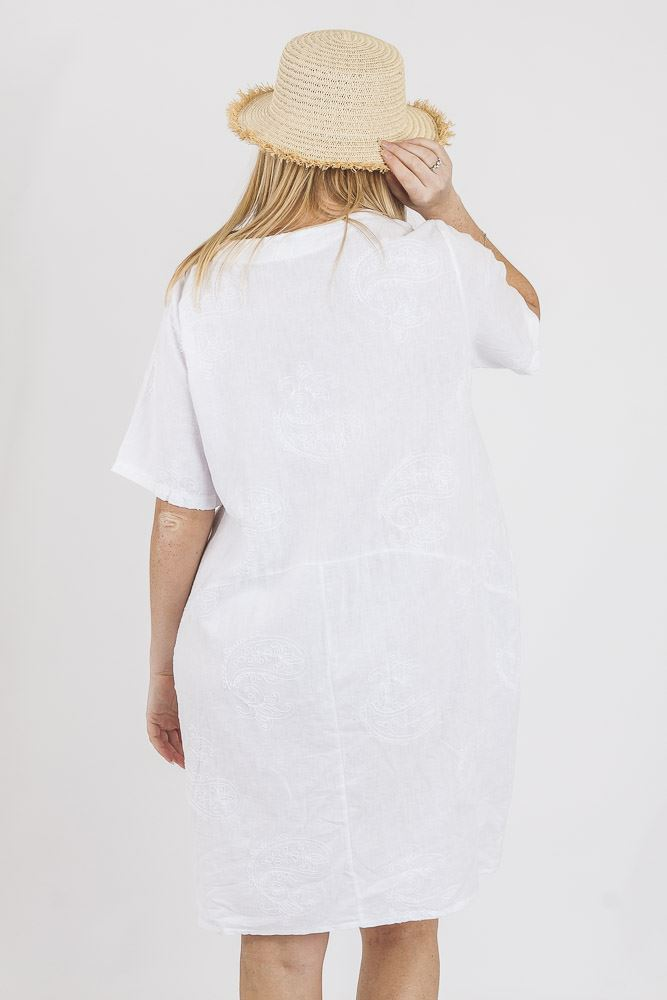 Amie Linen Paisley Embroidered Bubble Hem Dress - Love My Fashions - Womens Fashions UK