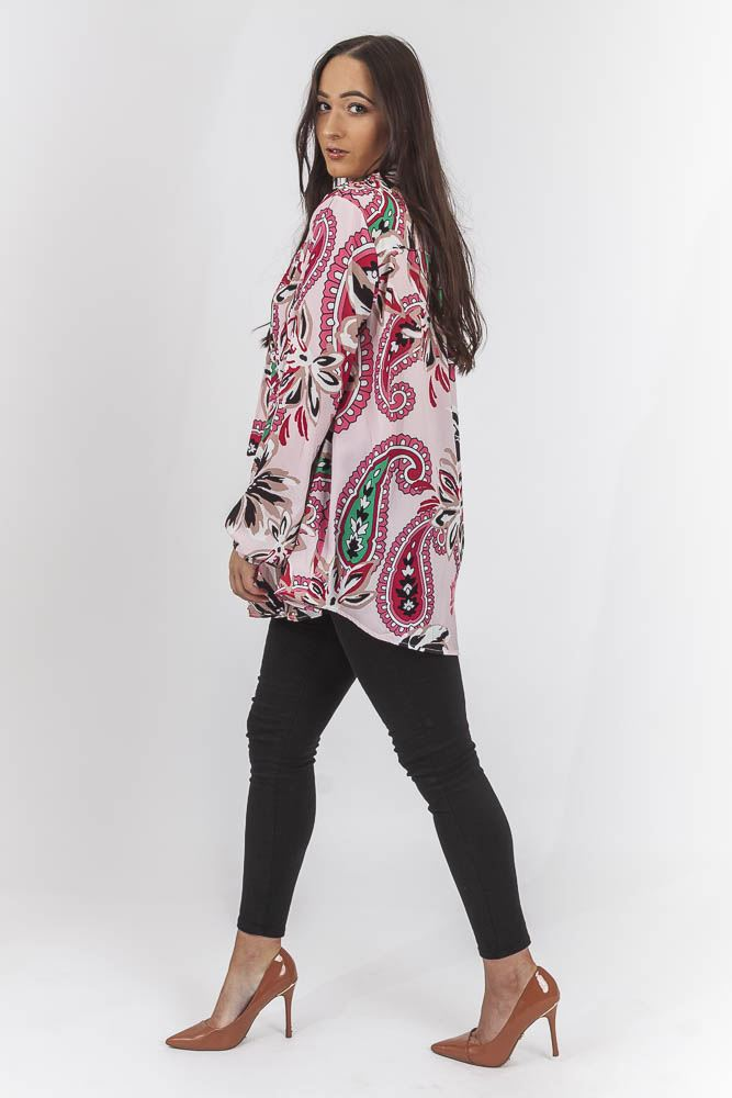 Thalia Floral Paisley Tie Neck Top - Love My Fashions - Womens Fashions UK