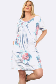 Brush Stroke Floral Print Tunic