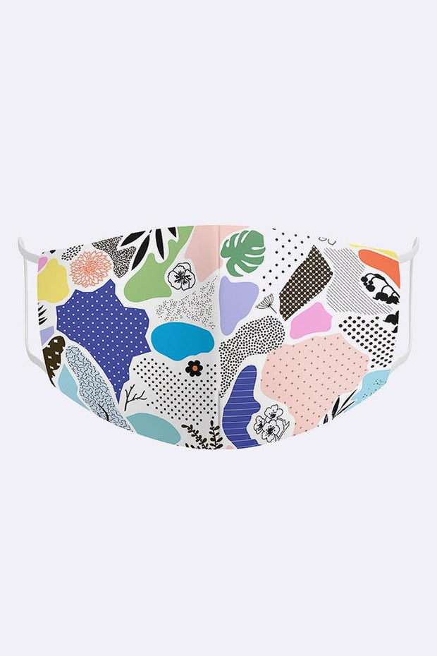 Kids Abstract Patchs 2 Ply Digital Print Cotton Face Mask Cover