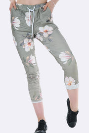 Italian Lilly Print Drawstring Waist Trousers