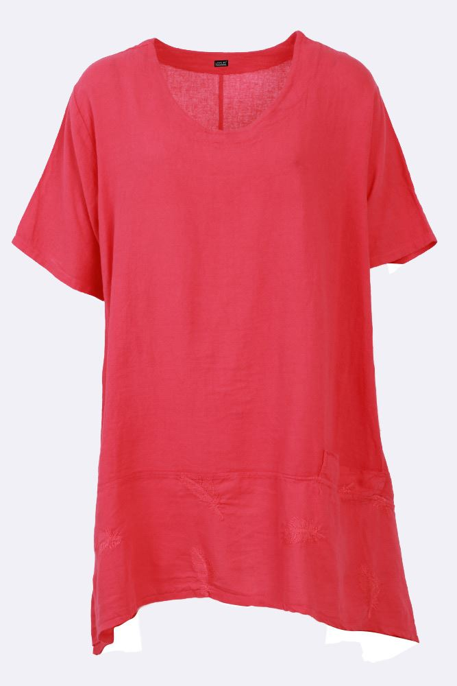Leia Linen Feather Embroidered Dip Hem Top - Love My Fashions - Womens Fashions UK