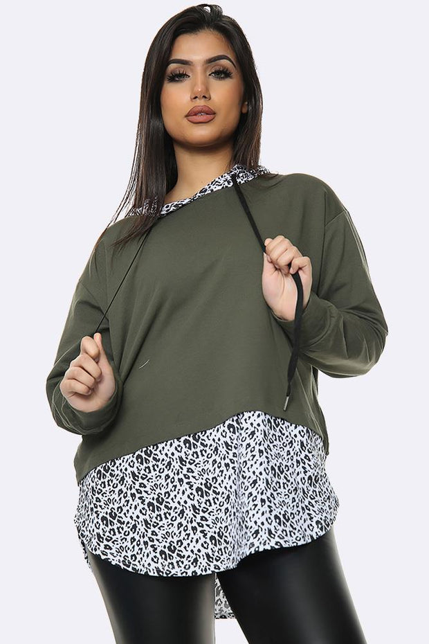 Italian Leopard 2 In 1 Shirt Print Hooded Top