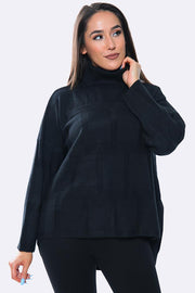 Plain Panel Pattern Ribbed High Neck Tunic Jumper