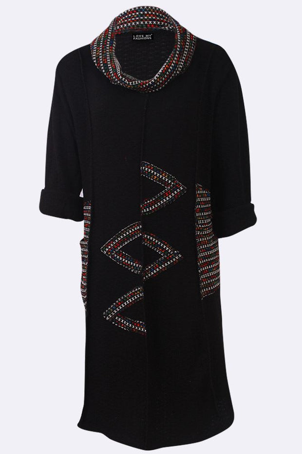 Elsie Zig Zag Print Multicoloured Patchwork Scarf Dress