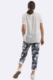 Jamie Cotton Rose Print Drawstring Foldover Hem Trouser - Love My Fashions - Womens Fashions UK