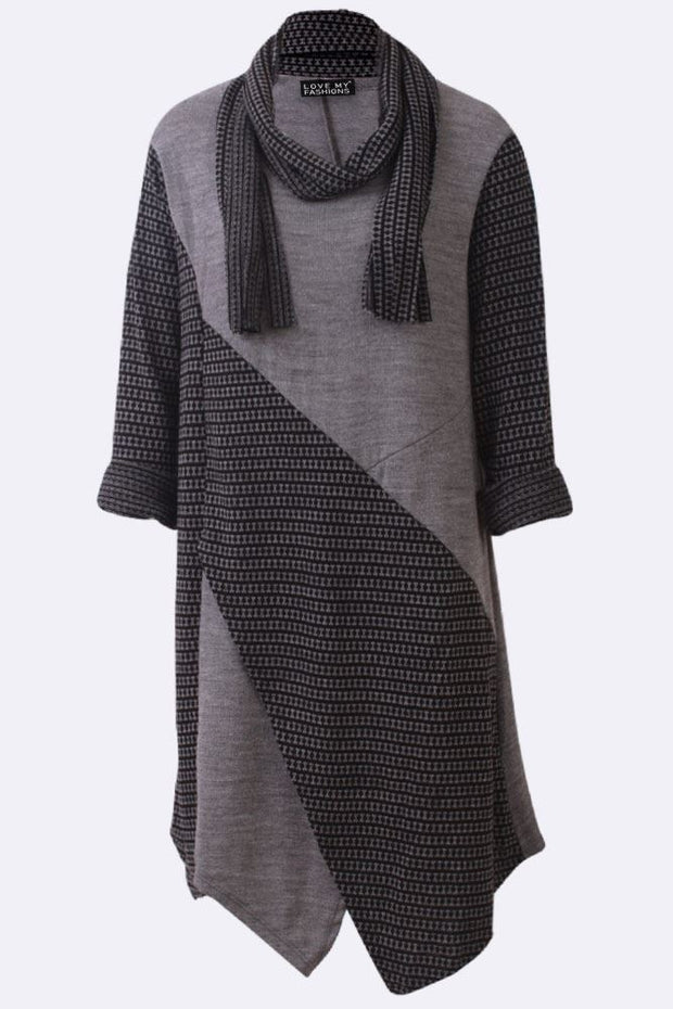 Ana Textured Stripe Patchwork Asymmetric Scarf Dress - Love My Fashions - Womens Fashions UK