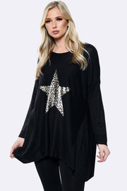 Lagenlook Wool Leopard Star Top