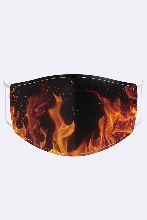 Digital Fire Print Fashion Mask