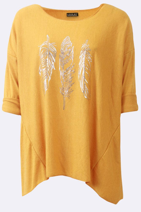 Beatrix Metallic Feather Print Top