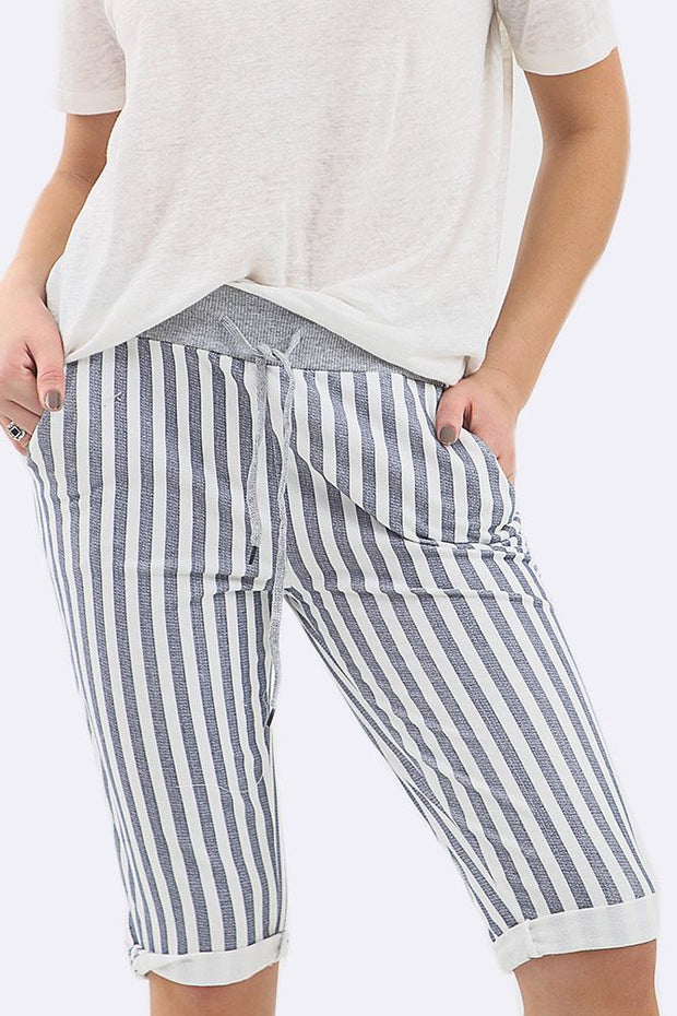 Angelique Cotton Stripes Print 3/4 Drawstring Trouser
