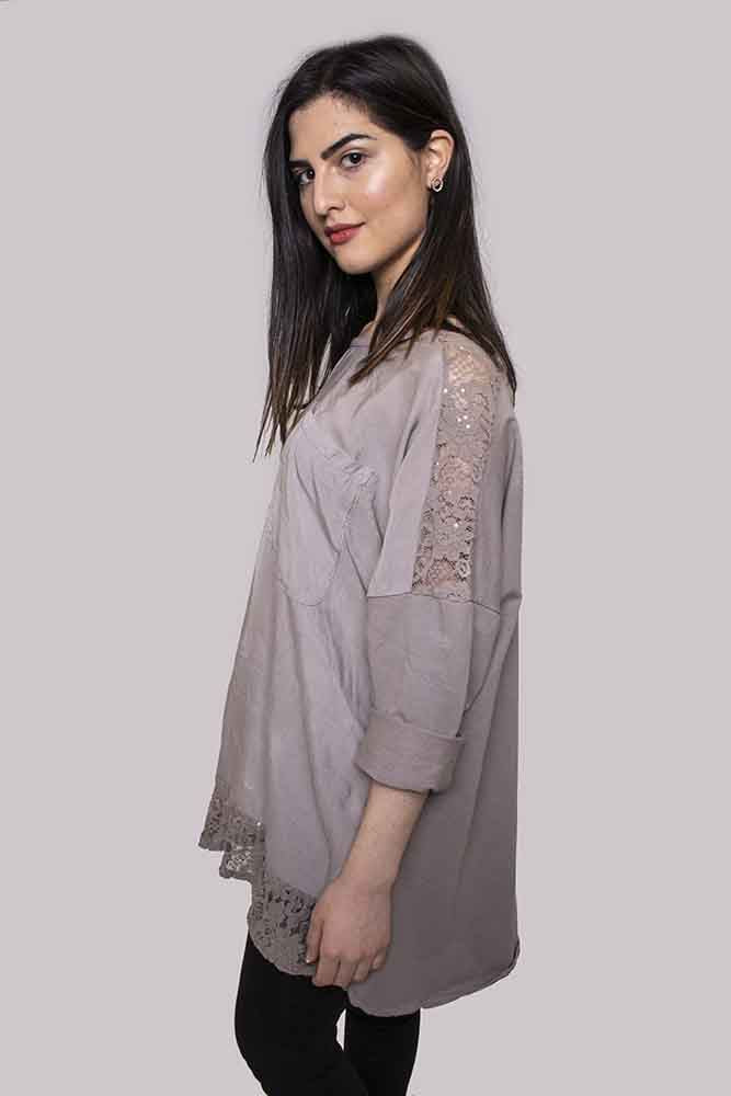 Zara Lace Panel Pocket Top - Love My Fashions - Womens Fashions UK