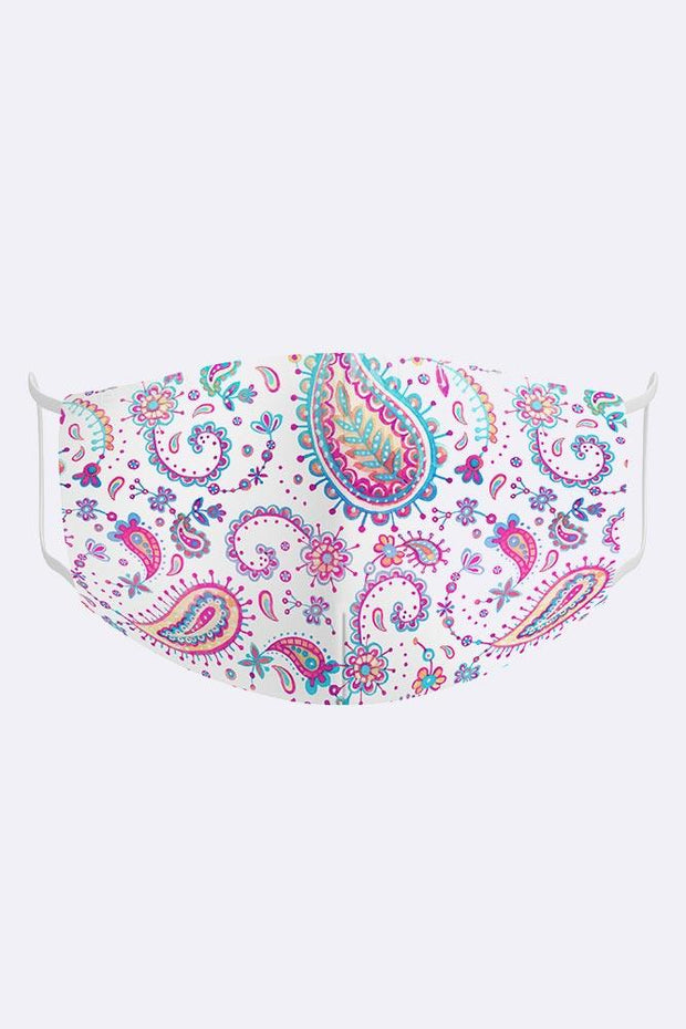 Kids Colourful Paisley 2 Ply Digital Print Cotton Face Mask Cover