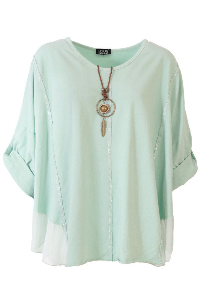 Lauren Cotton Paneled Necklace Top - Love My Fashions - Womens Fashions UK