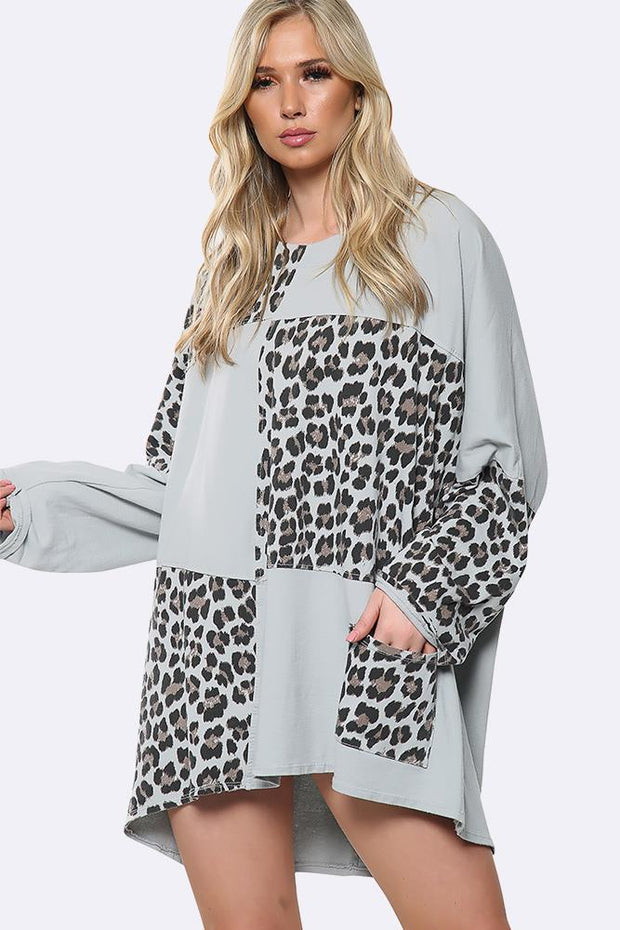 Patchwork Leopard Print Tunic Top