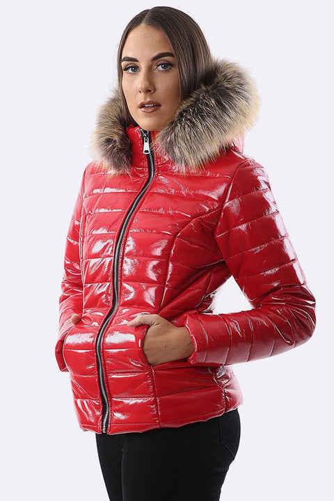 Georgia Quilted Faux Fur Hooded Long Sleeve Padded Jacket - Love My Fashions - Womens Fashions UK