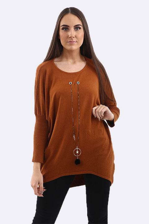 Alba Plain Eyelet Star Necklace Step Hem Jumper