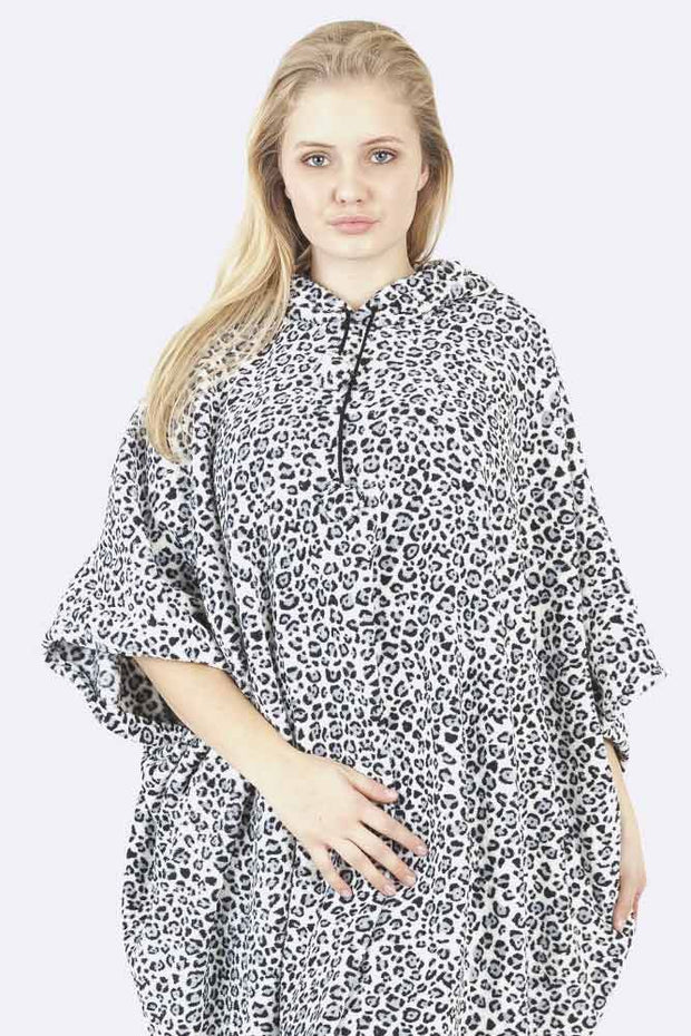 Dua Leopard Print Hooded Fleece Poncho Blanket - Love My Fashions - Womens Fashions UK