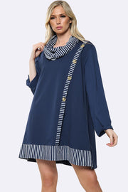 Italian Cotton Stripe Side Button Line Scarf Tunic Top