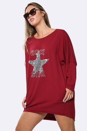 Italian Sequin Rock Star Print Top