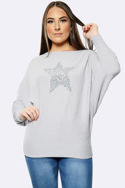 Italian Sequin Star pattern Oversized Baggy Top