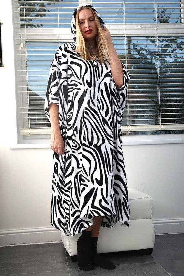 Meaghan Zebra Print Hooded Fleece Poncho Blanket - Love My Fashions - Womens Fashions UK