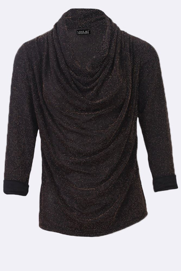 Isobella Lurex Textured Cowl Neck Long Sleeve Tunic Top