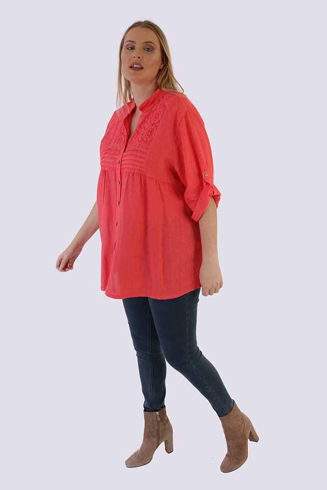 Laila Linen Lace Pleated Top - Love My Fashions - Womens Fashions UK