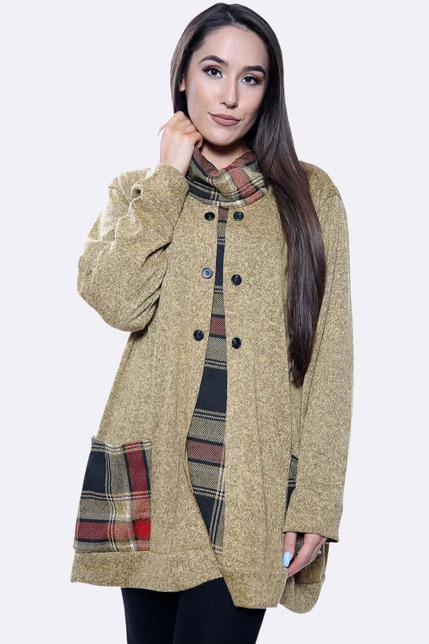 Italian Check Patches Marl Print Pocket Top