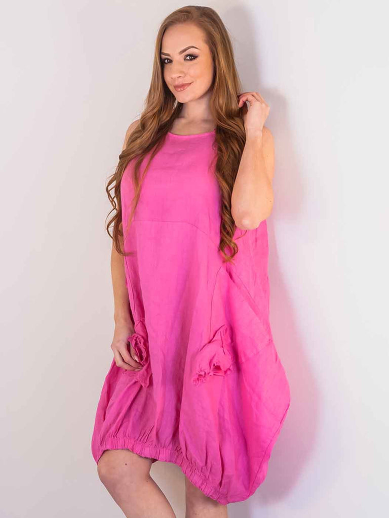 Sophia Linen Applique Bubble Hem Dress - Love My Fashions - Womens Fashions UK