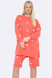 Star Motifs Short Loungewear Set
