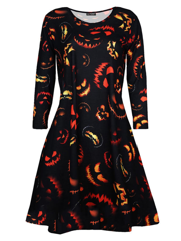 Mia-rose Halloween Ghost Pumpkin Prints Swing Dress - Love My Fashions - Womens Fashions UK