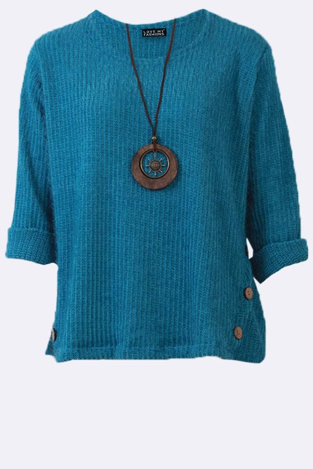 Harper Stripes Pattern Fluffy Button-up Sides Necklace Top